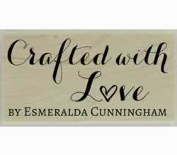 "Esmeralda Crafted With Love Custom Stamp - 1.5"" X 0.75"" - Stamptopia"