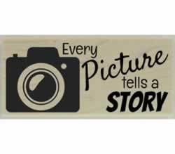 "Every Picture Tells A Story Rubber Stamp - 2.5"" X 1"" - Stamptopia"