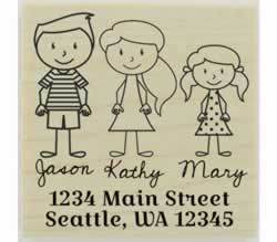 "Family Of Three Return Address Stamp - 2"" X 2"" - Stamptopia"