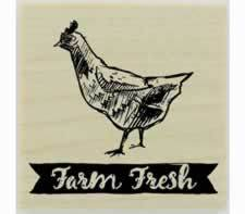 "Farm Fresh Banner And Chicken Rubber Stamp - 1.5"" X 1.5"" - Stamptopia"