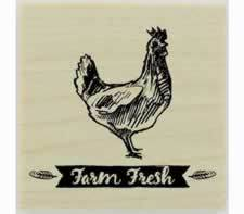 "Farm Fresh Banner With Feathers Design Stamp - 1"" X 1"" - Stamptopia"