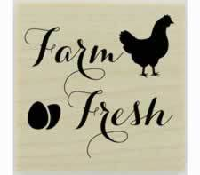 "Farm Fresh Design Rubber Stamp - 1.5"" X 1.5"" - Stamptopia"