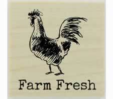 "Farm Fresh With Rooster Rubber Stamp - 1.5"" X 1.5"" - Stamptopia"