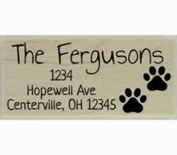 "Fergusons Dog Paw Prints Address Stamp - 2.5"" X 1"" - Stamptopia"