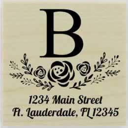 "Floral Spray Monogram Return Address Stamp - 1.5"" X 1.5"" - Stamptopia"