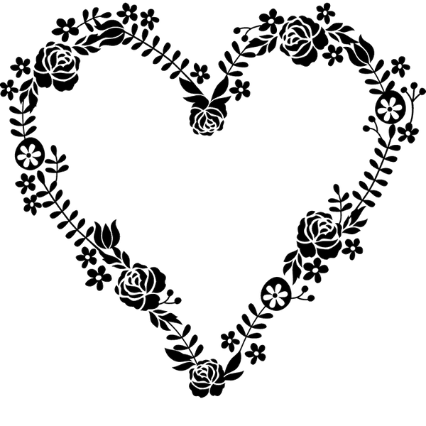 Floral Wreath Heart-Shaped Stamp - Stamptopia