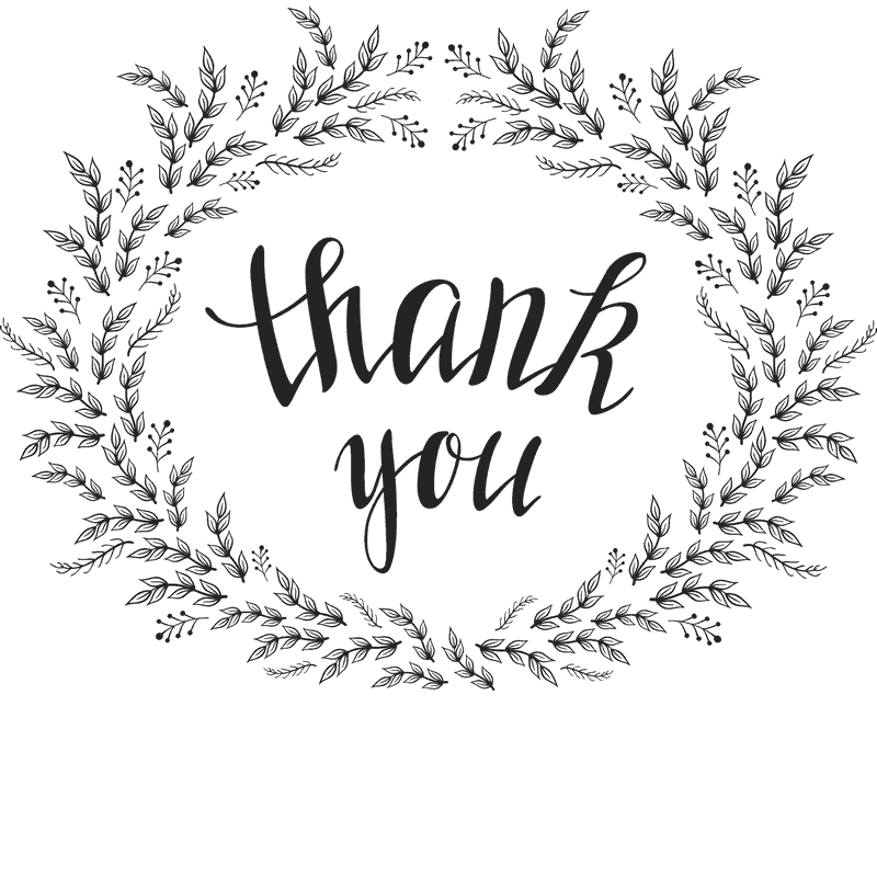 floral wreath thank you stamp stamptopia