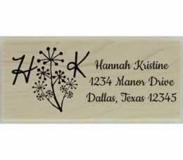 "Flower & Initial Return Address Stamp - 2.5"" X 1"" - Stamptopia"
