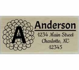 "Flower Monogram Return Address Stamp - 2.5"" X 1"" - Stamptopia"