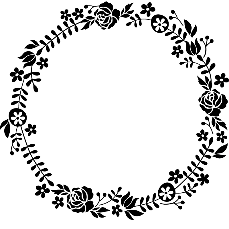 Flowering Wreath Rubber Stamp