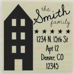 "Four Level Home Address Stamp - 1.5"" X 1.5"" - Stamptopia"