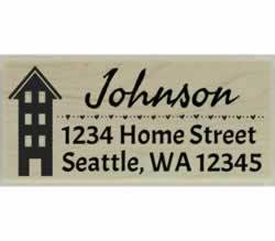 "Four Level Home Return Address Stamp - 2.5"" X 1"" - Stamptopia"