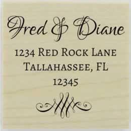"Fred Decorative Script Address Stamp - 1.5"" X 1.5"" - Stamptopia"