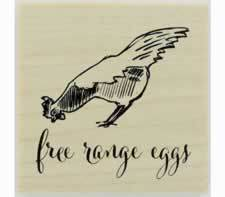 "Free Range Eggs With Chicken Rubber Stamp - 1.5"" X 1.5"" - Stamptopia"