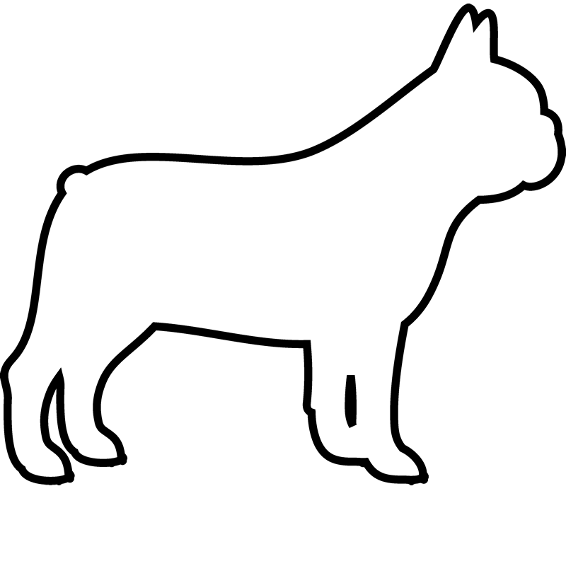 French Bulldog Rubber Stamp (Outline) - Stamptopia