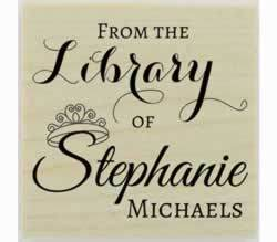 "From The Library Of Personalized Book Stamp - 1.5"" X 1.5"" - Stamptopia"