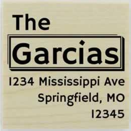 "Garcia Name Border Address Stamp - 2"" X 2"" - Stamptopia"