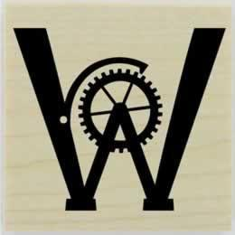"Gear Monogram Rubber Stamp - 1.5"" X 1.5"" - Stamptopia"