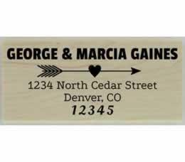 "George Heart And Arrow Return Address Stamp - 2.5"" X 1.25"" - Stamptopia"