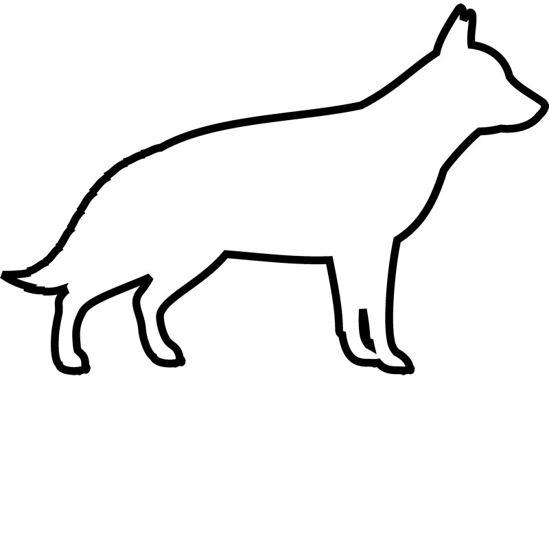 German Shepherd Rubber Stamp (Outline) - Stamptopia