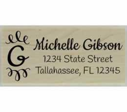 "Gibson Handwritten Monogram Return Address Stamp - 2.5"" X 1"" - Stamptopia"