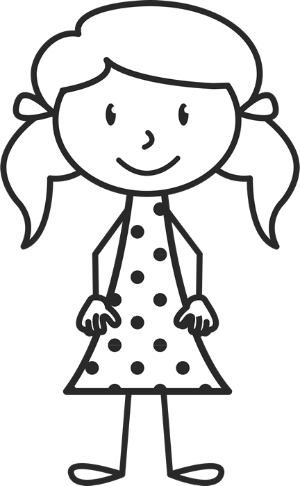 Girl With Pigtails And Polka Dot Dress Stamp - Stamptopia