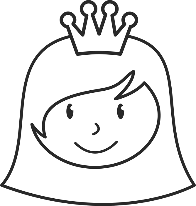 Girl With Short Hair And Crown Face Stamp - Stamptopia