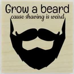 "Grow A Beard! Rubber Stamp - 2"" X 2"" - Stamptopia"