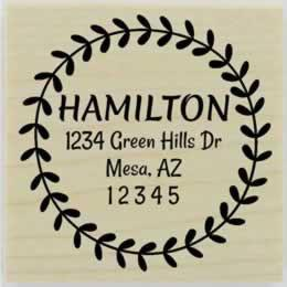 "Hamilton Leaf Circular Border Address Stamp - 2"" X 2"" - Stamptopia"