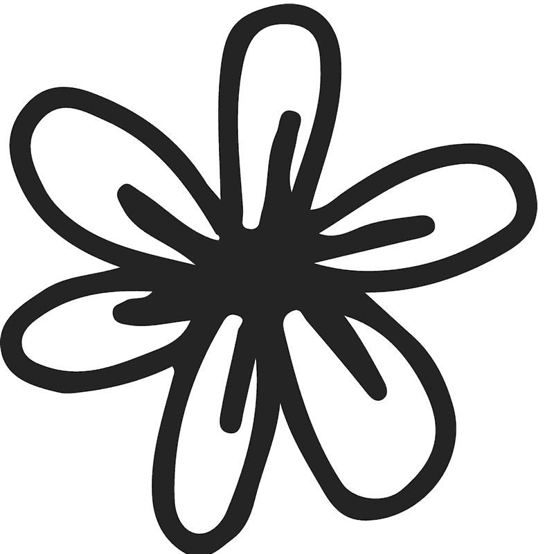 Hand-Drawn Flower Rubber Stamp - Stamptopia