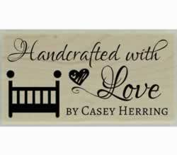 "Handcrafted Bed Custom Stamp - 1.5"" X 0.75"" - Stamptopia"