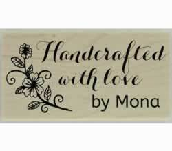 "Handcrafted Flower Branch Custom Stamp - 1.5"" X 0.75"" - Stamptopia"