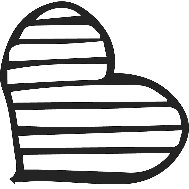 Handdrawn Striped Heart Stamp - Stamptopia