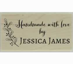 "Handmade With Leafy Branch Custom Stamp - 1.5"" X 0.75"" - Stamptopia"