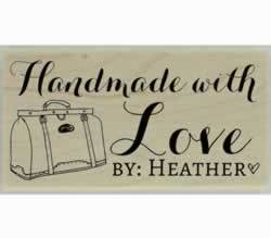 "Handmade With Love Bag Custom Stamp - 1.5"" X 0.75"" - Stamptopia"