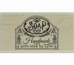 "Handmade With Love Soap Personalized Stamp - 3"" X 1.5"" - Stamptopia"