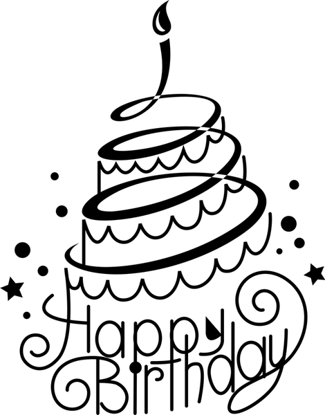 Happy Birthday Cake Rubber Stamp - Stamptopia