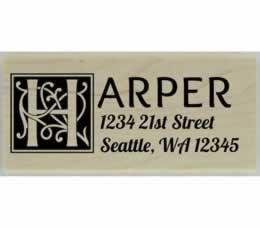 "Harper Ornamental Square Monogram Address Stamp - 2.5"" X 1"" - Stamptopia"
