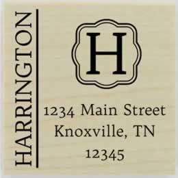 "Harrington Decorative Monogram Address Stamp - 1.5"" X 1.5"" - Stamptopia"
