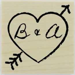 "Heart And Arrow Monogram Stamp - 1.5"" X 1.5"" - Stamptopia"