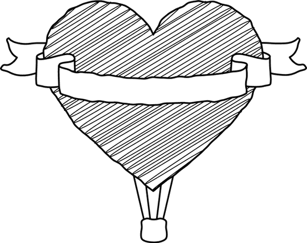 Heart Hot Air Balloon Stamp - Stamptopia