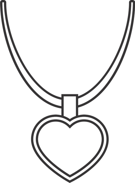 Heart Pendant Necklace Rubber Stamp - Stamptopia