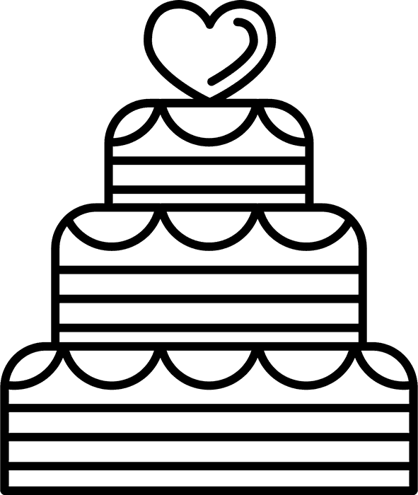 Heart-Topped Wedding Cake Stamp - Stamptopia