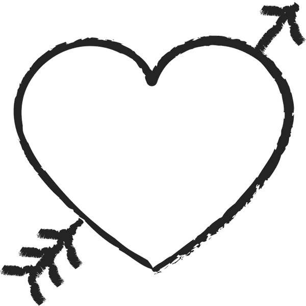 Heart With Arrow Rubber Stamp - Stamptopia