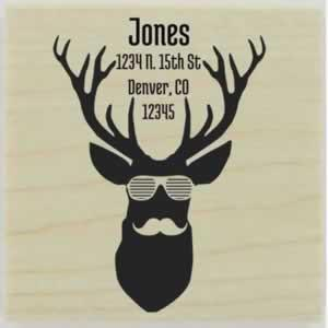 "Hipster Deer With Moustache Address Stamp - 1.5"" X 1.5"" - Stamptopia"