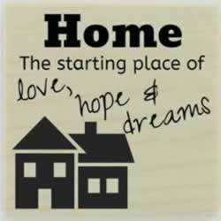 "Home Is The Starting Place Quote Stamp - 1.5"" X 1.5"" - Stamptopia"