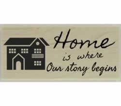 "Home Is Where Our Story Begins Stamp - 2.5"" X 1"" - Stamptopia"