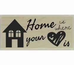 "Home Is Where Your Heart Is Rubber Stamp - 2.5"" X 1"" - Stamptopia"