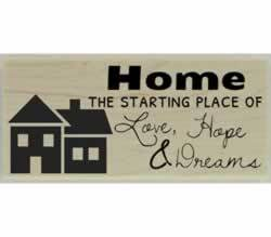 "Home The Starting Place Quote Stamp - 2.5"" X 1"" - Stamptopia"