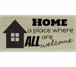 "Home Where All Are Welcome Stamp - 2.5"" X 1"" - Stamptopia"